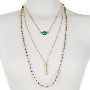 LUCKY BRAND Triple Layer Stone Necklace